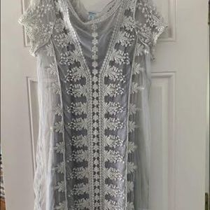 Grey and Cream Lace Dress